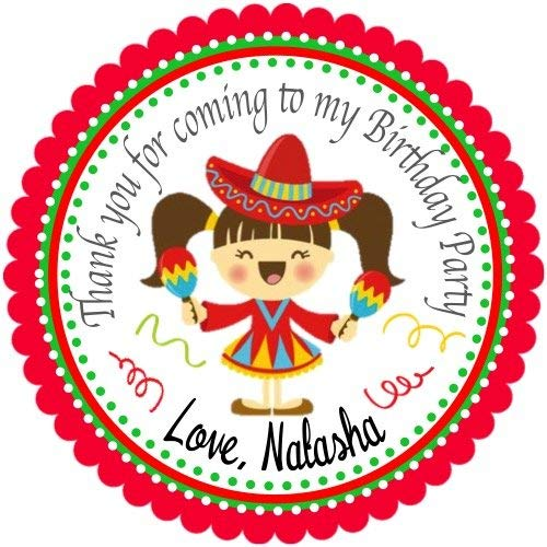 40 Mexican Fiesta Personalized Birthday Stickers 2' round, Singing Mexican Girl Personalized Party labels Hang Tags, Cupcake Toppers - Choice of Size