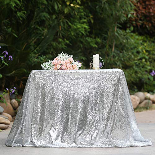 """DominiBurl 60""""×102"""" Silver Sequin Tablecloth Rectangle Table Cloths Decor for Engagement Wedding Bridal Show Diner en Blanc Party Baby Shower"""