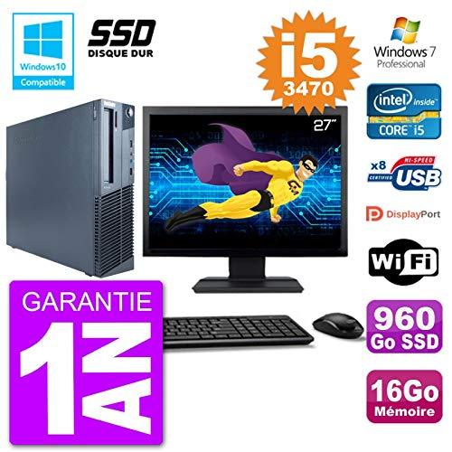 Lenovo PC M82 SFF Pantalla 27' i5-3470 RAM 16 GB SSD 960 GB Grabadora DVD WiFi W7 (reacondicionado)