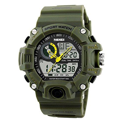 La personalidad de los hombres al aire libre sportswaterproof electrónico doble tiempo pantalla reloj Fashion reloj multifunción