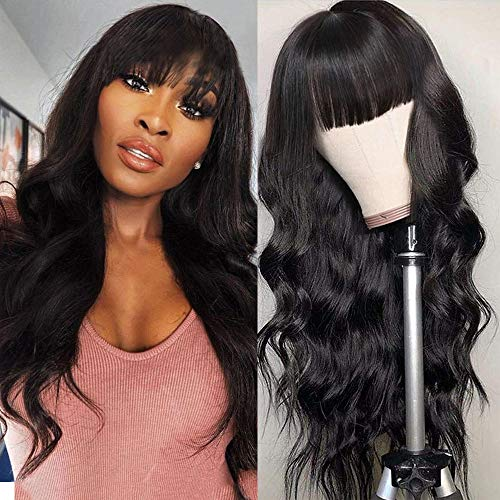 Body Wave Wigs With Bangs Virgin Brazilian None Lace Front Wigs Human Hair Wigs 130% Density Glueless Machine Made Wigs For Black Women (24 inch, Body wave)