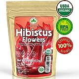 Hibiscus Tea 1LB (16Oz) 100% CERTIFIED Organic Hibiscus Flowers Herbal Tea (WHOLE PETALS), Caffeine Free in 1...