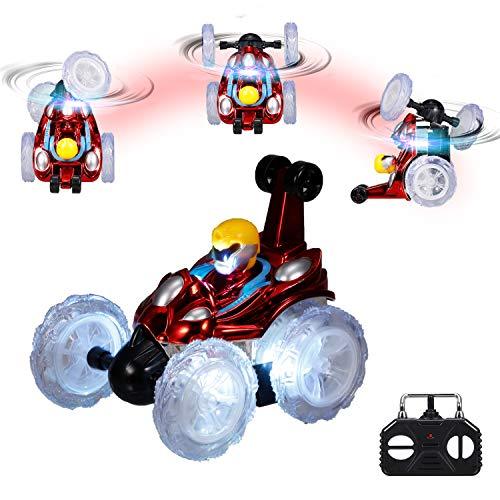 KKmoon Carro de acrobacias com controle remoto 2.4G brinquedo de carro RC com luzes LED piscando 360 ° Caminhada vertical para crianças meninos