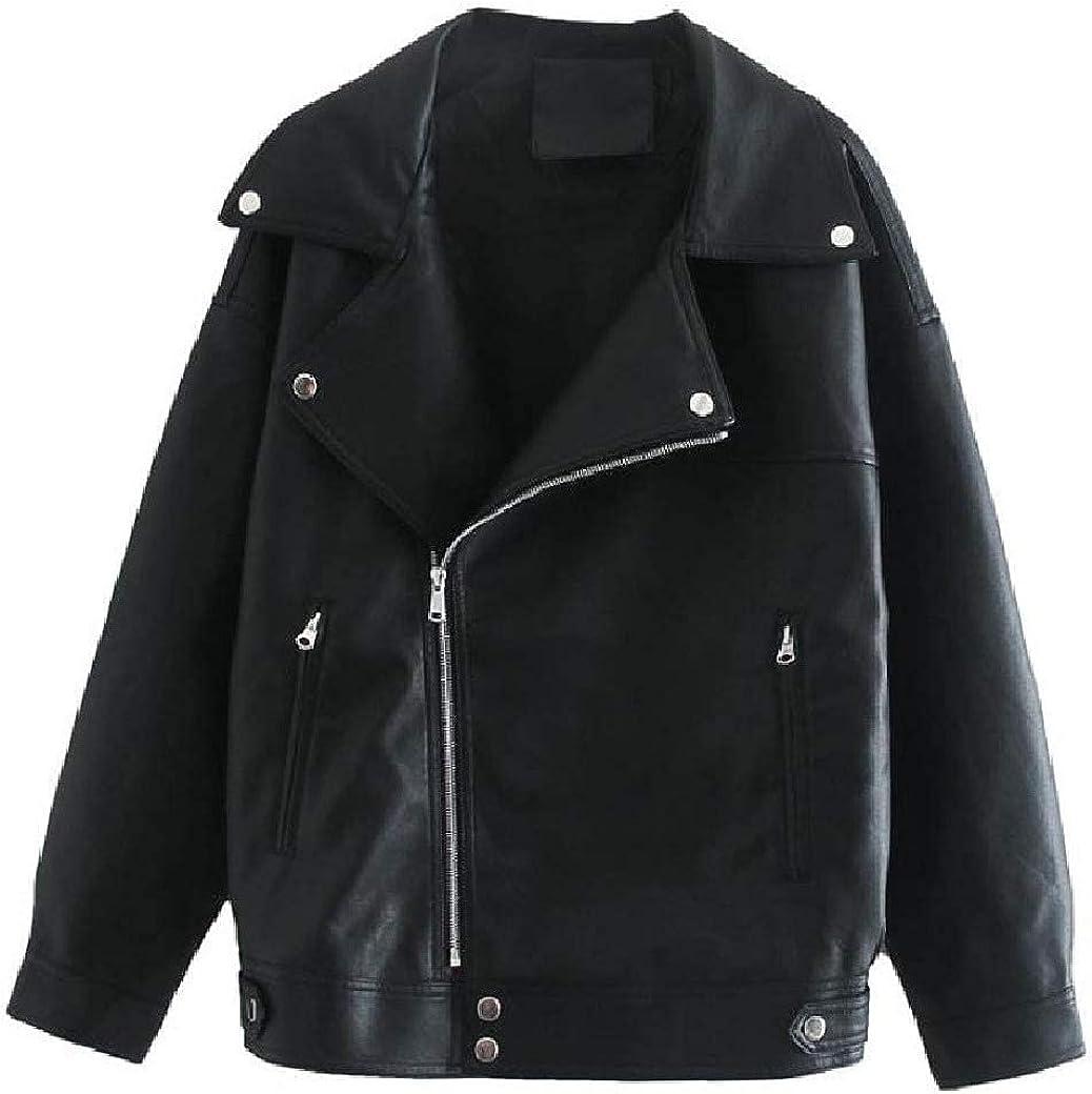 Women Thin Fall Winter Short Mini Long Sleeve PU Leather Jackets