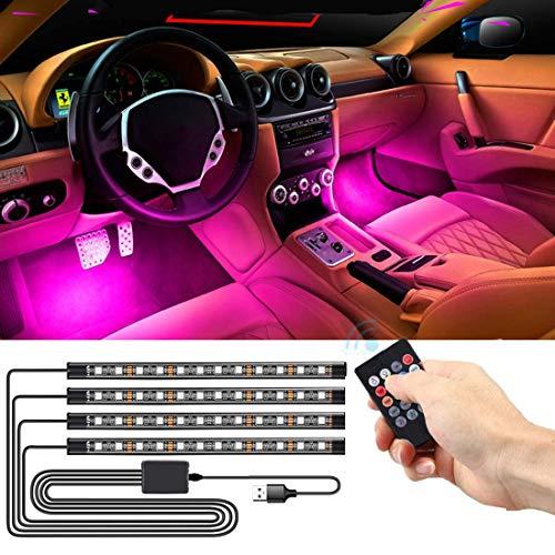 SEAMETAL LED Innenbeleuchtung Auto,4pcs 48LED Auto LED Strip, Upgrade USB Ambientebeleuchtung Auto Streifen (USB)
