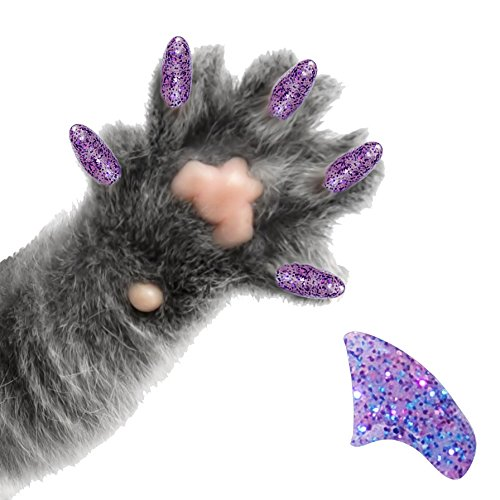 Purrdy Paws 40-Pack Soft Nail Caps for Cat Claws Purple Holographic Glitter Small