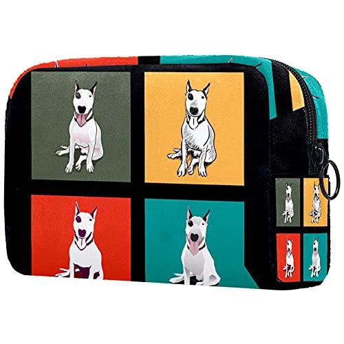 Bolsa de cosméticos para Mujeres Perro Bull Terrier Bolsas de Maquillaje espaciosas...