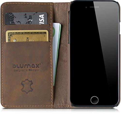 Blumax iPhone 8 iPhone 7 sogar iPhone 6s & 6 Flipcase Ledertasche Echtleder Case Handyhülle ohne Magnet Farbe Classic-Braun Bookstyle Vintage