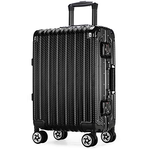Lightweight Hardshell Luggage, Large Capacity with TSA Lock Spinner Silent Universal Wheel Sturdy Durable Tie Rod Suitcase for Adults Traveling School-24'-Black