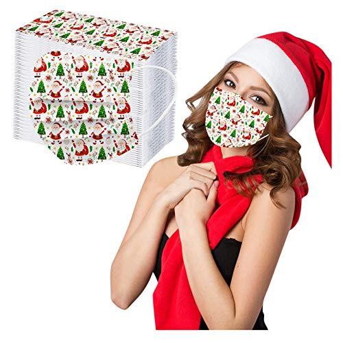 Erwachsene Mundschutz Multifunktionstuch, Einweg 3-lagig Weihnachten Schneeflocke Weihnachtsbaum Cartoon Gedruckt Maske, Staubdicht Atmungsaktive Vlies Mund-Nasenschutz Bandana Halstuch