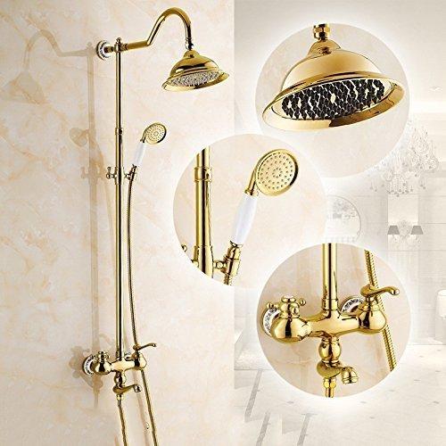 LAMZH Constante temperatura ducha grifo oro ducha antiguo conjunto europeo cobre completo baño caliente ducha fría americana ducha mano chapado en oro