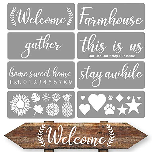 Paint Stencils for Wood Signs Farmhouse Stencils for Painting on Wood /& More Canvas and Wall Decor Reusable Farmhouse Stencil Set Includes Bee Kind Hello Sunshine and a Gather Stencil
