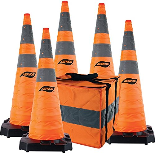 "36"" Heavy Duty Collapsible Safety Cones 5 Pack Kit with Rubber Base #1187-5"