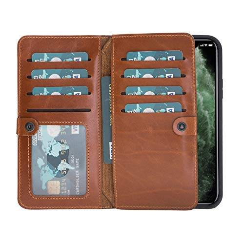 """Burkley Case Windsor Premium Genuine Leather Book Cover Style Double Bi-Fold Magnetic Detachable Snap-on Case Wallet with Flap Closure for Apple iPhone 11 (6.1"""") (Burnished Tan)"""