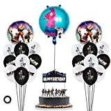 Nelton Video Game Party Supplies Includes Cake Topper - 18 Latex Balloons - 3 Foil Balloons - Perfect Battle Royale Gamer Decorations Favors for Kids