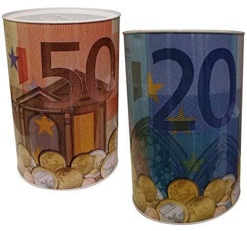 GW Handels UG 2er Set XXL Spardose Euro Blechdose Metall Spardose 12 cm x 16 cm Sparschwein Geburtstag