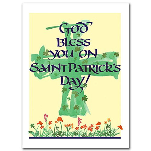 God Bless You On Saint Patrick's Day Relgious Greeting Card with Cross Bookmark