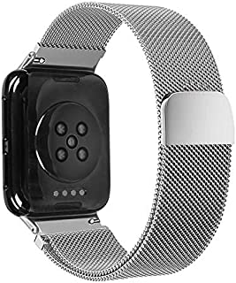 QFH fashion watch chain For OPPO Watch 46MM Smart Watch Milanese Stainless Steel Metal Strap(Black) Unisex (Color : Silver)