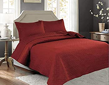 3 PCSSquared Stitched Pinsonic Reversible Lightweight All Season Bedspread Quilt Coverlet Oversized Queen Size Brick Color
