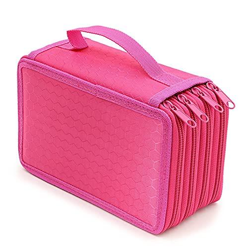 BestSiller Bolsa de 4 capas con cremallera de colores, estuche de gran capacidad con correa de asa, práctico estuche para lápices de maquillaje y papelería