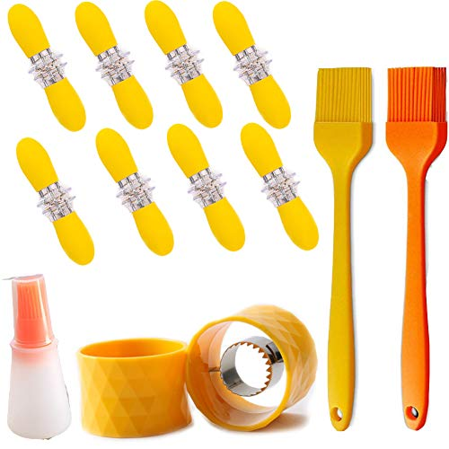 QINREN Corn Peeler Corn Cob Stripper Tool, Stainless Steel Cob Corn Stripper Corn Holders Pins Corn On The Cob Holders Corn Stripper Cutter with Silicone Oil Brush and Oil Bottle for Home Kitchen
