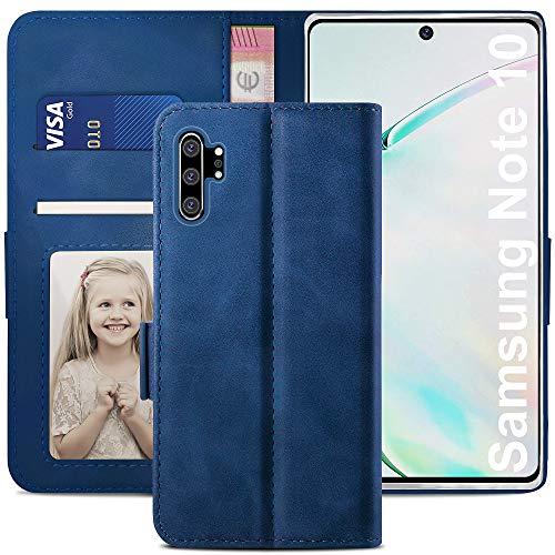 YATWIN Handyhülle Samsung Galaxy Note 10 Plus Hülle, Klapphülle Samsung Note 10 Plus Premium Leder Brieftasche Schutzhülle [Kartenfach] [Magnet] [Stand] Handytasche Hülle für Samsung Note 10 Plus, Blau