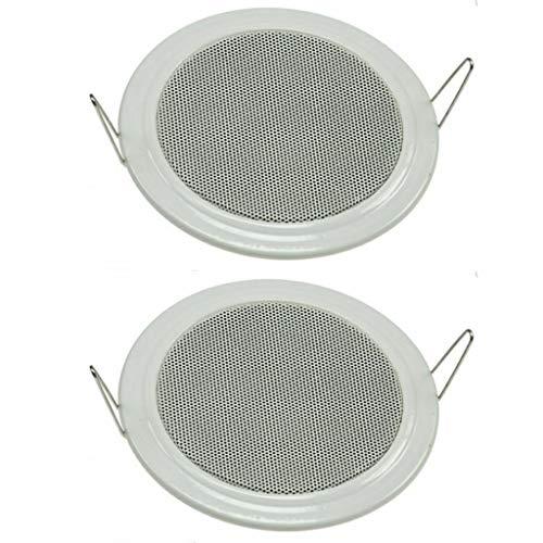 Juego de 2 altavoces empotrables para techo y pared, diámetro de 135 mm, 60 W, rejilla protectora de metal, 8 ohmios, montaje sencillo con muelle, color blanco