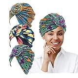 LUKACY African Pattern Headwrap 3 Pieces Pre-Tied Turbans for Women Beanie Cap Headwrap Hat