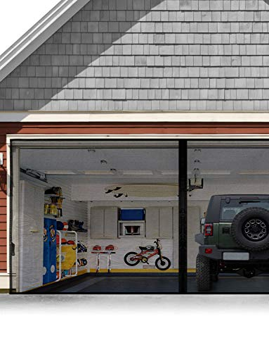 Garage Door Screen for 1 Car 9x7FT, Magnetic Screen Garage with Retractable Fiberglass Mesh and Heavy Duty Weighted Bottom, Easy Assembly & Pass, Hands Free Screen Door w/ 36 Magnets for Garage/Patio