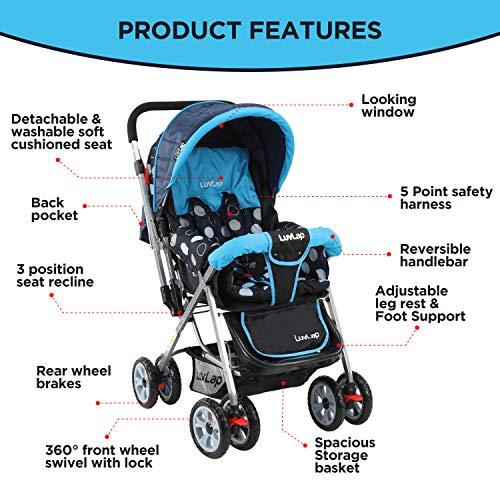 LuvLap Sunshine Stroller/Pram, Easy Fold, for Newborn Baby/Kids, 0-3 Years (Sky Blue) 2