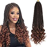 Box Braids with Wavy Ends 7 packs 18 inch Crochet Braids Hair Extensions Ombre Brown Kanekalon Loose Wave Box Braid Crochet Hair Extension (18, 1B/30)