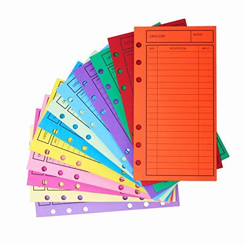 New!! 12 Pcs Budget Envelopes, Cardstock Cash Envelope System for Money Saving, Assorted Colors, Vertical Layout & Holepunched