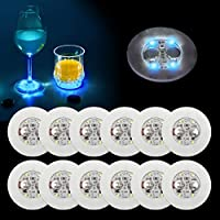 Ahier LED Coaster,Led Coasters for Drinks, Led Bar Coaster, Perfect For Party, Wedding, Bar(white) (Thin Blue)