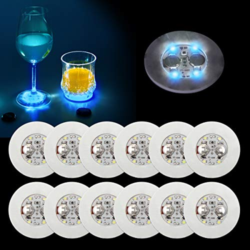 Ahier 12 Pcs LED Coasters for Drinks, Led Bar Coaster Bottle Light Sticker Perfect for Party, Wedding, Bar (Blue)