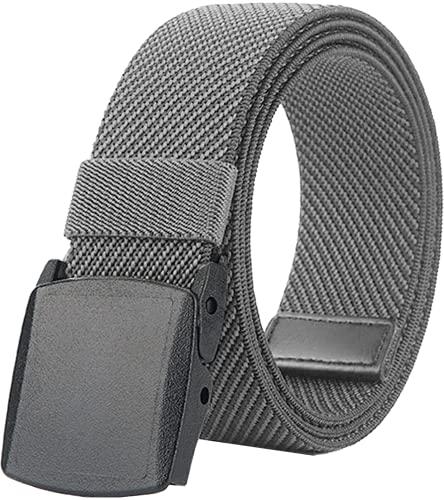 LionVII Cinturones de hombre de tela elástica con hebilla de plástico, 130 cm, gris, Talla única