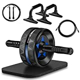 Syntus Upgraded 6-in-1 AB Wheel Roller with Knee Pad Push Up Bars Handles Grips Adjustable Skipping Jump Rope, Home Gym Workout Exercise Equipment for Men Women Boxing MMA Fitness Training (Blue)