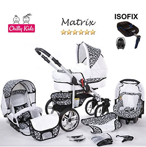 Chilly Kids Matrix II Kinderwagen en kinderstoel Veiligheid Zomerset (parasol, autostoel & ISOFIX ondergrond, regenhoes, muskietennet, zwenkwielen) 59 Wit & Luipaard