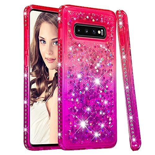 CrazyLemon Hülle for Samsung Galaxy S10, Glänzend Funkelnd Treibsand & Voll Side Strass Design Pink + Lila Weich Silikon TPU Handyhülle für Frauen