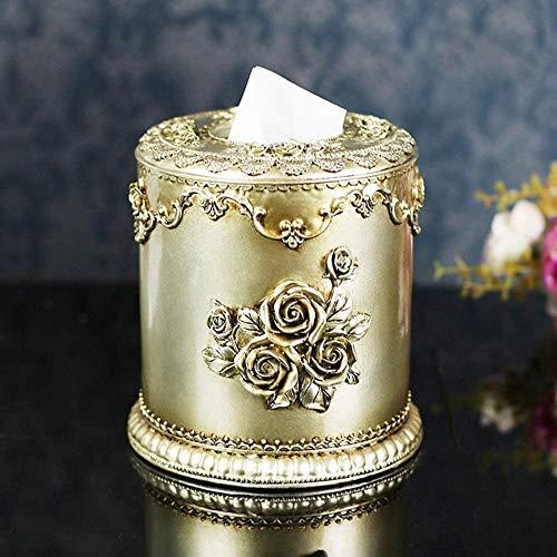 TAIDENG Caja de pañuelos decoraciones de almacenamiento - Creative Home Accesorios Resina Artesanías Corte Europea Tallado Circular Caja de pañuelos Regalo de inauguración de la casa al por mayor