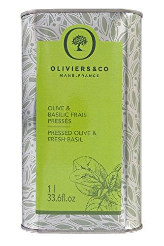 Oliviers & Co | Huile d'Olive aromatique 1L (Olive & Basilic Frais Pressés) | Huile Vierge Extra | Première pression à froid | 100% naturelle