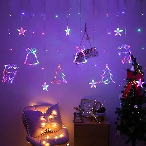 lpf Weihnachtsbeleuchtung Indoor/Outdoor EU220V / US110V Fairy Lights Moon Star Lamp Led String Dekoration for Home Party Urlaub Beleuchtung (Emitting Color : 16, Style : US 110v Plug)