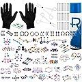 BodyJ4You 156PC Body Piercing Kit Aftercare Spray 14G 16G Rainbow Belly Ring Tragus Random Mix Jewelry