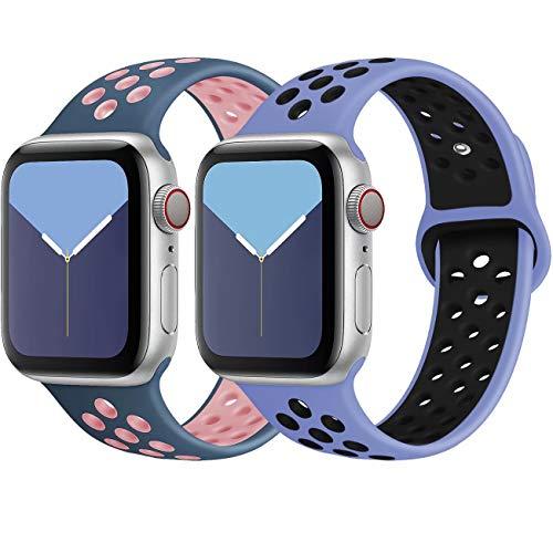 INZAKI Kompatibel mit Apple Watch Armband 38mm 40mm,weich atmungsaktives Silikon Sport Ersatzband für Armband für iWatch Serie 5/4/3/2/1,Nike+,Sport,wasserdicht,M/L,BluePink/RoyalpulseBlack