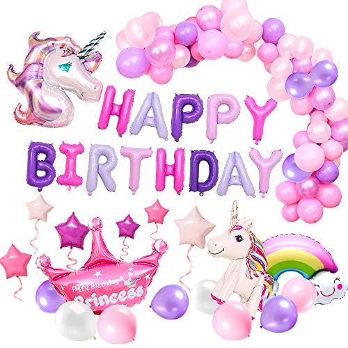 YAYJOY 58Pcs Unicorn Birthday Party Decoration Set Gold Unicorn Headband Happy Birthday Banner Unicorn Cake Toppers,Latex Balloon Starparty Huge Unicorn Balloons