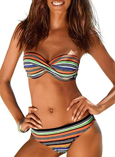 Aleumdr - Bikini push up da donna senza spalline Arancione 6A