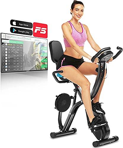 ANCHEER Heimtrainer Fahrrad mit APP-Anschluss F-Bike, Stützgewicht 125kg Klappbar Heimtrainer X-Bike, 10-stufig einstellbarem Magnetwiderstand Fahrradtrainer, Handpulssensoren, Platz sparen