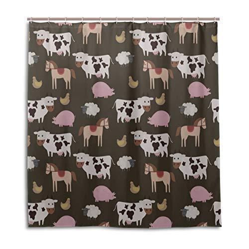 Yushg Bad Vorhang für Kinder Nahtlose Bauernhof Nutztiere Vektor Rechteckiger Duschvorhang 66 x 72 Zoll maschinenwaschbare wasserdichte Badvorhänge
