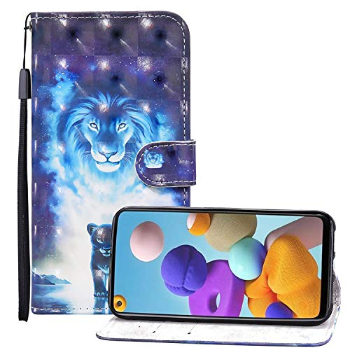 Nadoli 3D Effekt Brieftasche für Samsung Galaxy S20 Ultra,Cool Blau Löwe Muster Pu Leder Magnetverschluss Kartenfächer Flip Tasche Schutzhülle mit Standfunktion