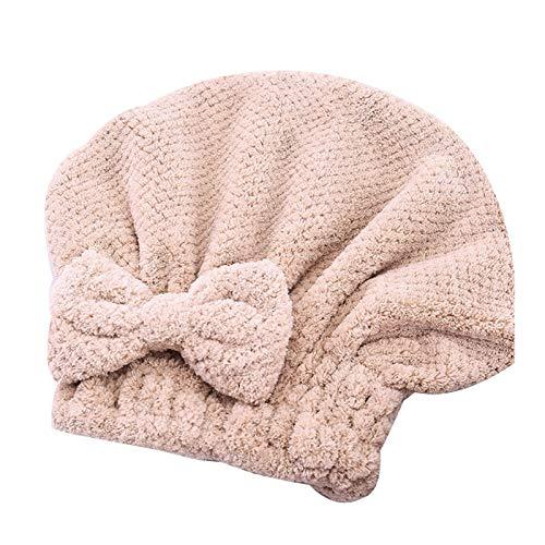 YUYI Paquete de 2 gorras de pelo de secado rápido con lazo, para mujeres y niñas, toalla súper absorbente, toalla de microfibra para secar el cabello largo y grueso (color caqui - 2 unidades)