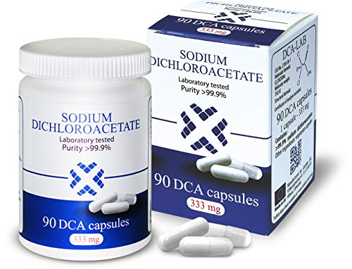 Natriumdichloracetat (Dichloressigsäure) - Sodium Dichloroacetate - DCA 333mg, Beste Reinheit >99,9%, Inklusive Analysebescheinigung, Hergestellt in Europa, von DCA-LAB, 90 Kapseln